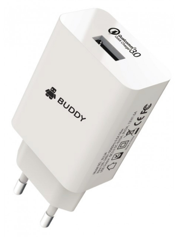 Buddy-BUL36 QC3.0 18W EU Home Charger + 3A Type-C USB Cable White
