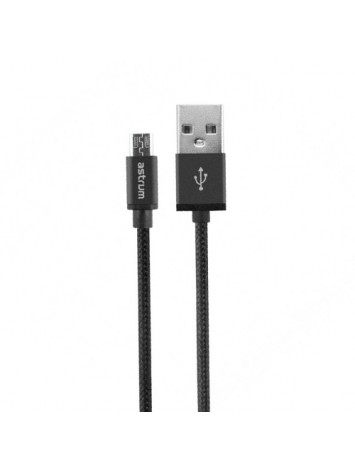 Astrum Cable Micro USB Charge Dual sided usb connector Braided Black