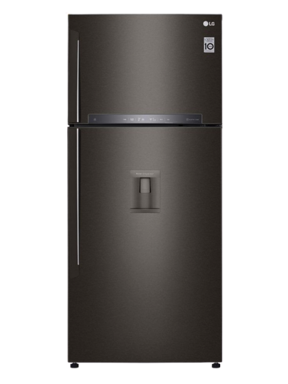 LG - Refrigerator (547L/509L-Black Steel-TopFreezer-Indonesia-Bar Handle LINEAR Cooling DoorCooling+ Multi Air Flow Pull-out Tray Trimless Tempered Glass
